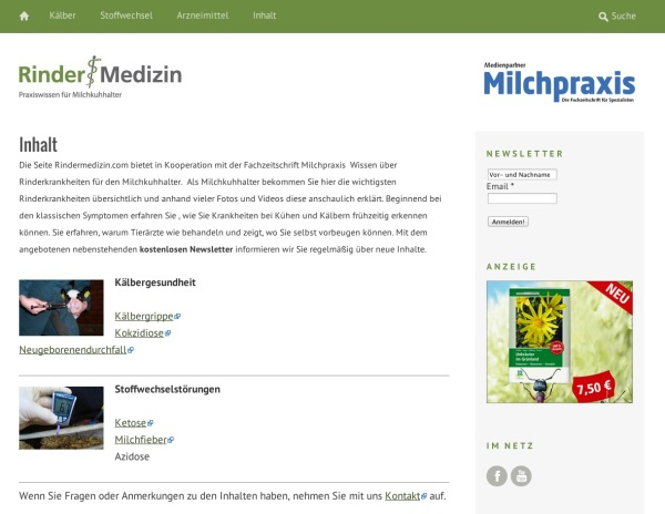 Screenshot www.rindermedizin.com