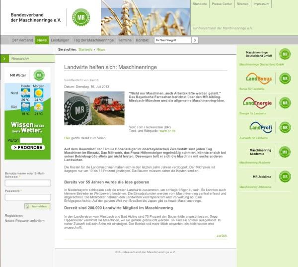 Screenshot Maschinenring Internetseite BR-Sendung