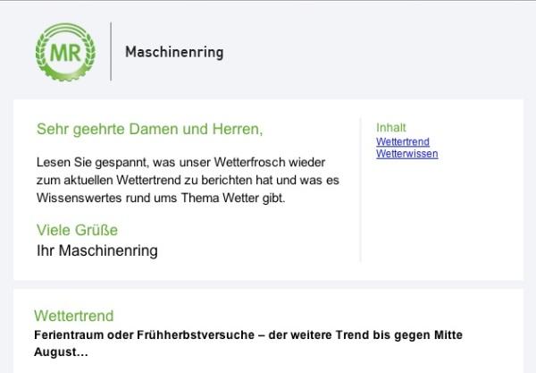 Screenshot Newsletter der Maschinenringe mit neuem Logo