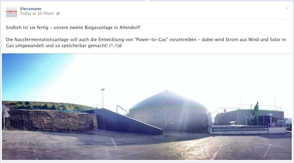 Facbook Seite von Viessmann