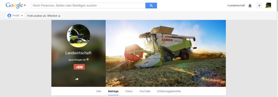 Google Plus Page der Agrar-Blogger