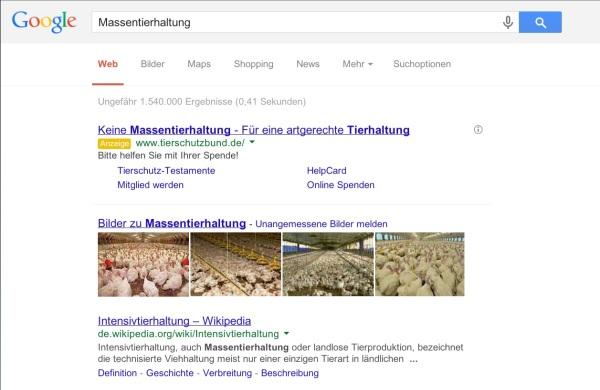 Massentierhaltung Suchergebnis bei Google