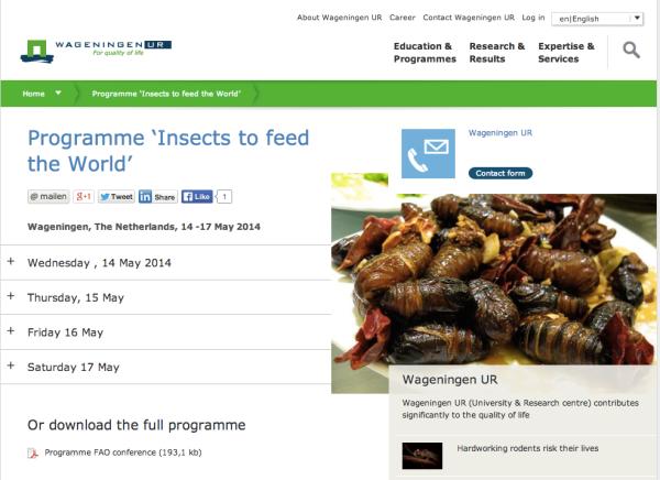 Kongress Welternährung durch Insekten der Universität Wageningen Niederlande